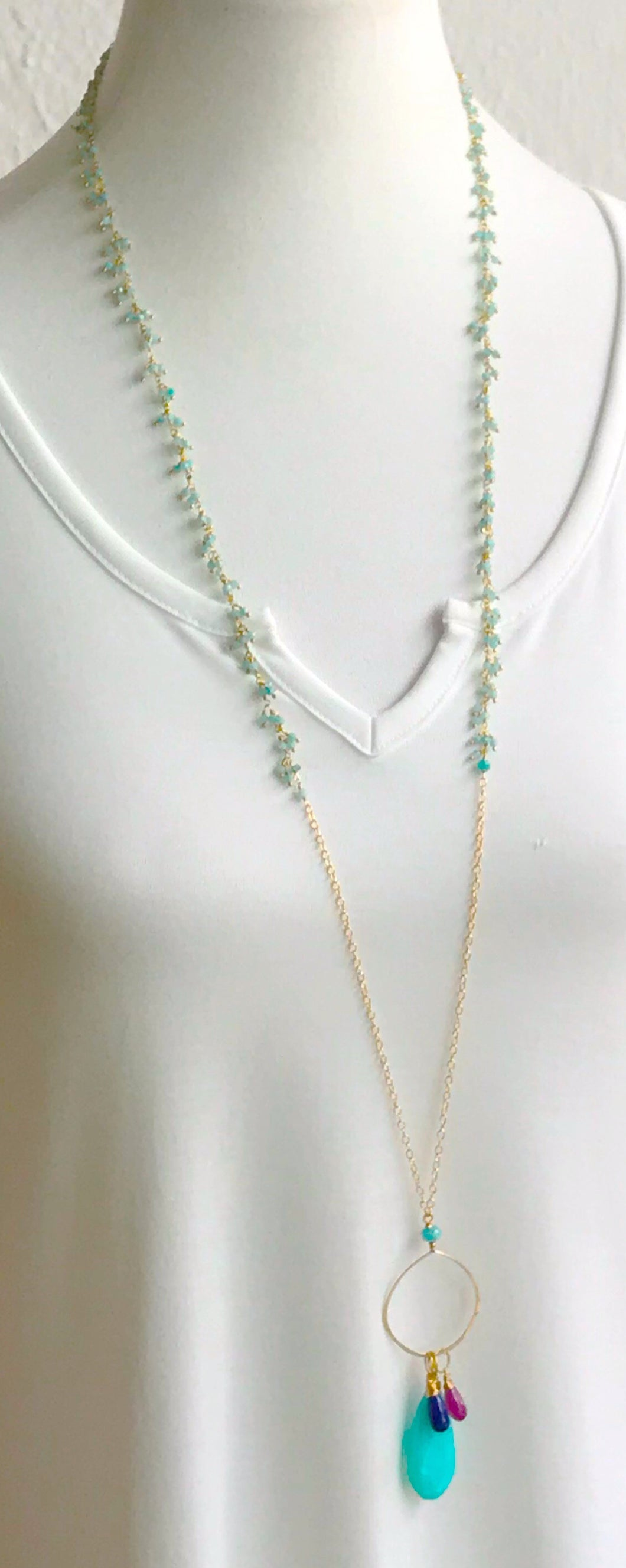 Maxi Necklace with Triple Stones