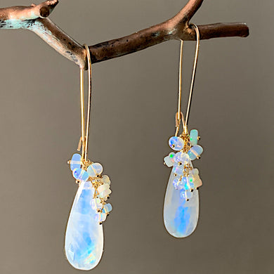 Opal Cluster and Rainbow Moonstone Earrings