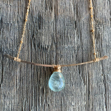 Gold Aquamarine Branch Necklace