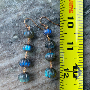 Rose Gold and Labradorite Linked Earrings
