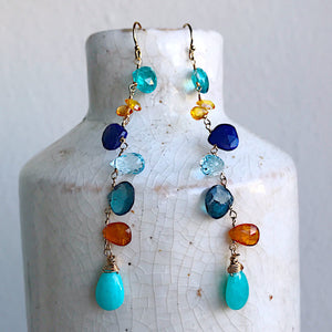 Key West Sunset Linked Gemstone Briolette Earrings