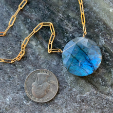 Large Link Labradorite Coin Solitaire