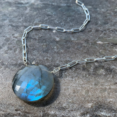 Sterling Large Link Labradorite Coin Solitaire