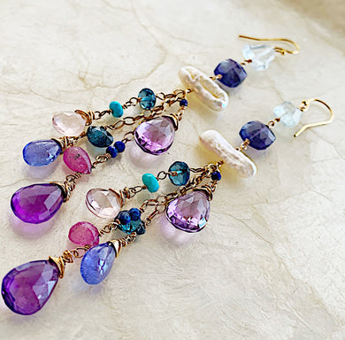 Lavender Soiree Cluster Earrings