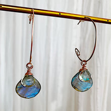The Infinite Rose Gold Hoops in Labradorite Mist