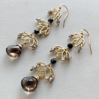 Smoky Quartz Linked Flower Earrings