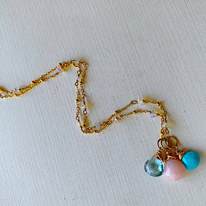 Triple Necklace- Turquoise, Pink Opal, and Topaz with Opal Accents