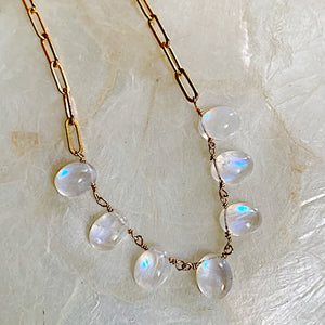 Rainbow Moonstone Collar Necklace