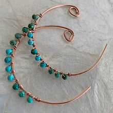Turquoise Rose Gold Spiral Hoops