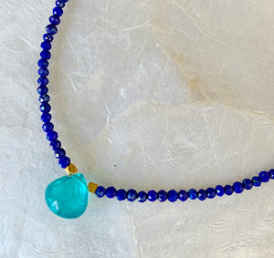 Lapis and Apatite Petite Camille Necklace
