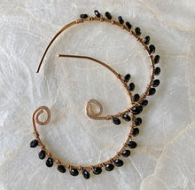 Black Spinel Gold Spiral Hoops