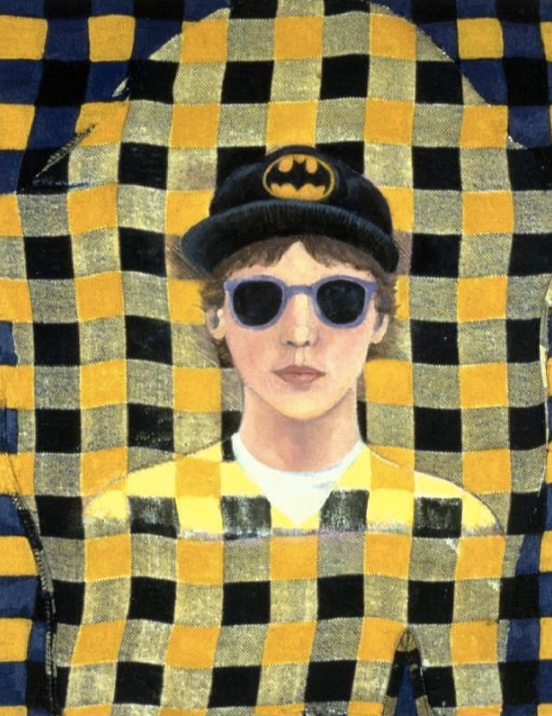 Tomboy Portrait with Sunglasses and Batman Hat on Yellow Flannel Shirt