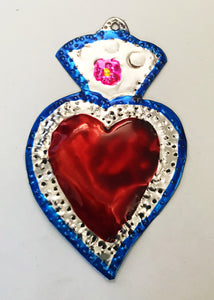 Oaxacan Handpainted Heart Tin Ornaments