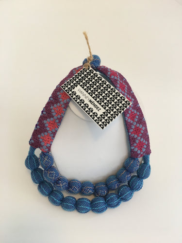 Vianney Méndez Necklace Blue and Red, Short