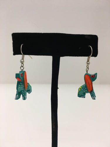 Original Hand Painted Oaxacan Dog Earrings: Blue and Orange