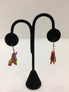 Original Hand Painted Oaxacan Dog Earrings: Red and Yellow