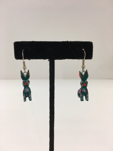 Original Hand Panted Oaxacan Bunny Earrings: Green and Orange