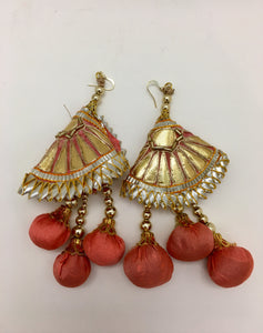 Gold and Pink Pom Earrings