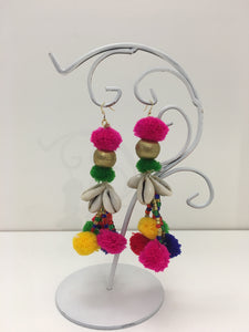 Pink, Green, Yellow, Red, Blue Pom with Shells Earrings