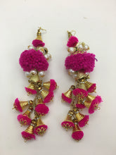 Gold Bells and Pearls Earrings: Pink