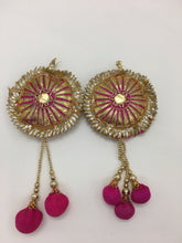 Gold Sun with Pink Poms Earrings