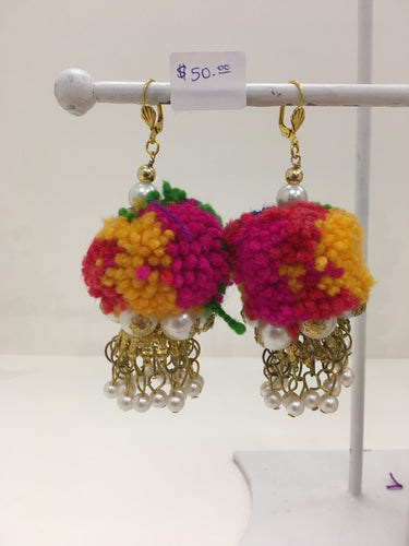 Multicolored Puff with Pearls Earrings