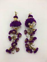 Gold Bells and Pearls Earrings: Purple