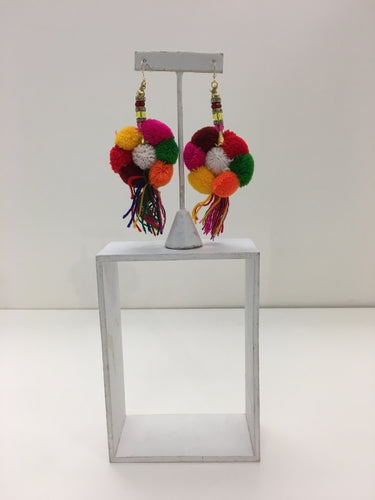 Multicolored Puff Earrings with Tassels