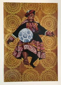 Man with Soccer Ball (Untitled) Print by Cece Carpio