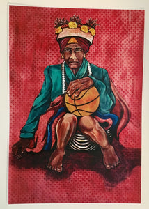 Woman with Basketball (Untitled) Fine Art Print by Cece Carpio