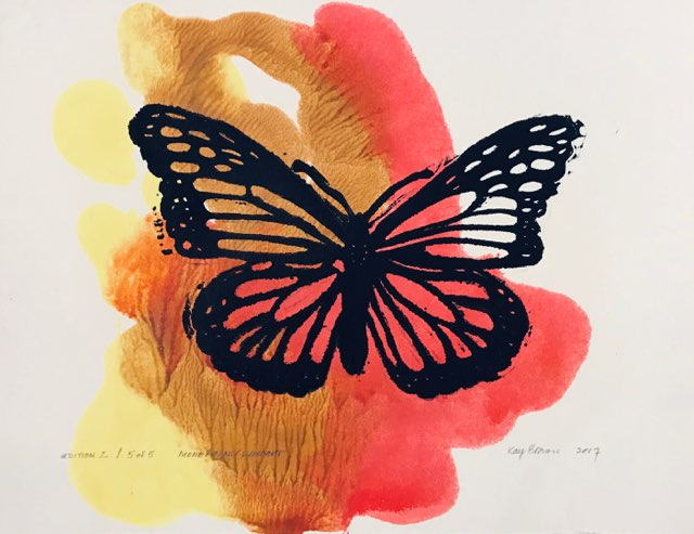 Butterfly Monoprint/Linocut by Kay Brown (2/5)