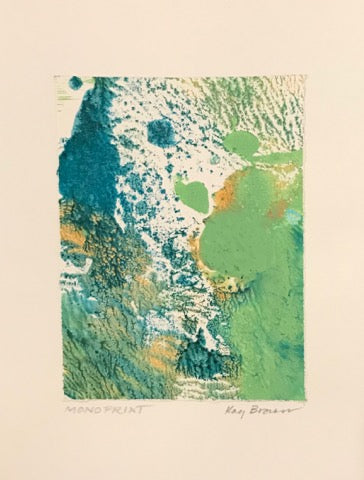 Green Series, One-of-a-Kind Monoprint Cards by Kay Brown