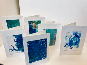 Monoprint Cards by Kay Brown: Assorted Blues