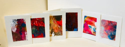 Monoprint Cards by Kay Brown: Assorted Reds