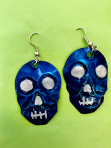 Handpainted Skull Tin Earrings