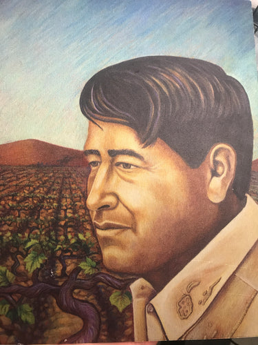 Cesar Chavez Print on Brushed Aluminum by Judy Baca