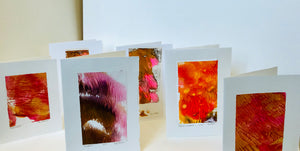 Monoprint Cards by Kay Brown: Volcanics