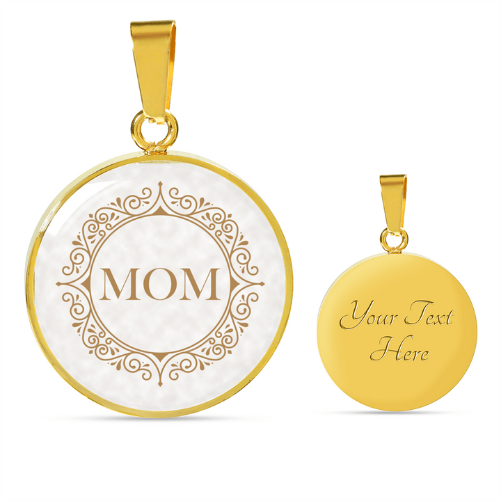 Mom Pendant And 18K Gold Finish Chain