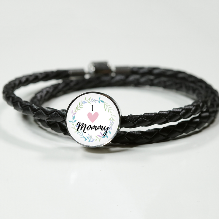 Double-Braided Real-Leather Charm Bracelet For Mom