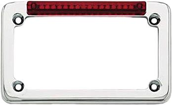 Led License Plate Frame Chrome W/Red Lens