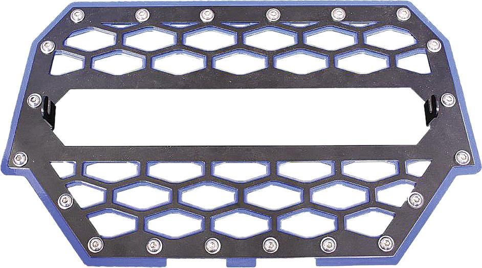 2-panel Front Grill Black-blue W-light Mount