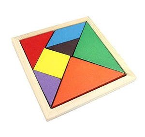 Wooden Tangram 7 Piece Puzzle Square iQ Game - Brain Teaser Children Intelligence Toy