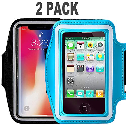 [2pack]Armband For iPhone Xs Max iPhoneXS iPhone XR iPhone X 8Plus 7Plus 6/6S Plus Galaxy s9s8 s7Edge CaseHQ Sports Exercise Running fitness exercise gym Pouch reflective with Key Holder (black+blue)