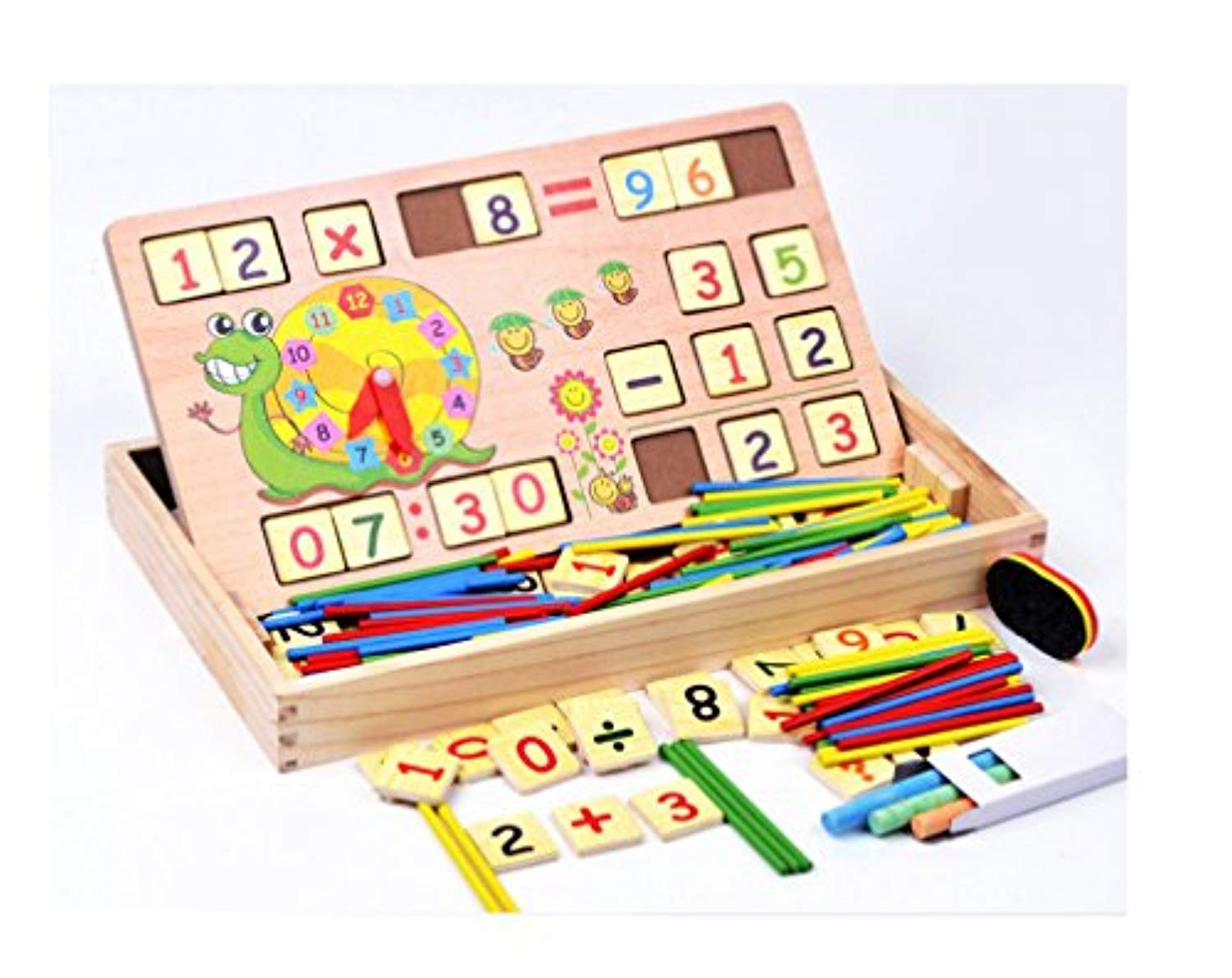 Montessori Toys For Toddlers, Preschool Teaching Tool Math Number Counting Sticks with Blackboard and Clock