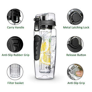 esLife Fruit Water Bottle 32 OZ, Fruit Infuser Sports Water Bottle BPA Free Tritan Plastic