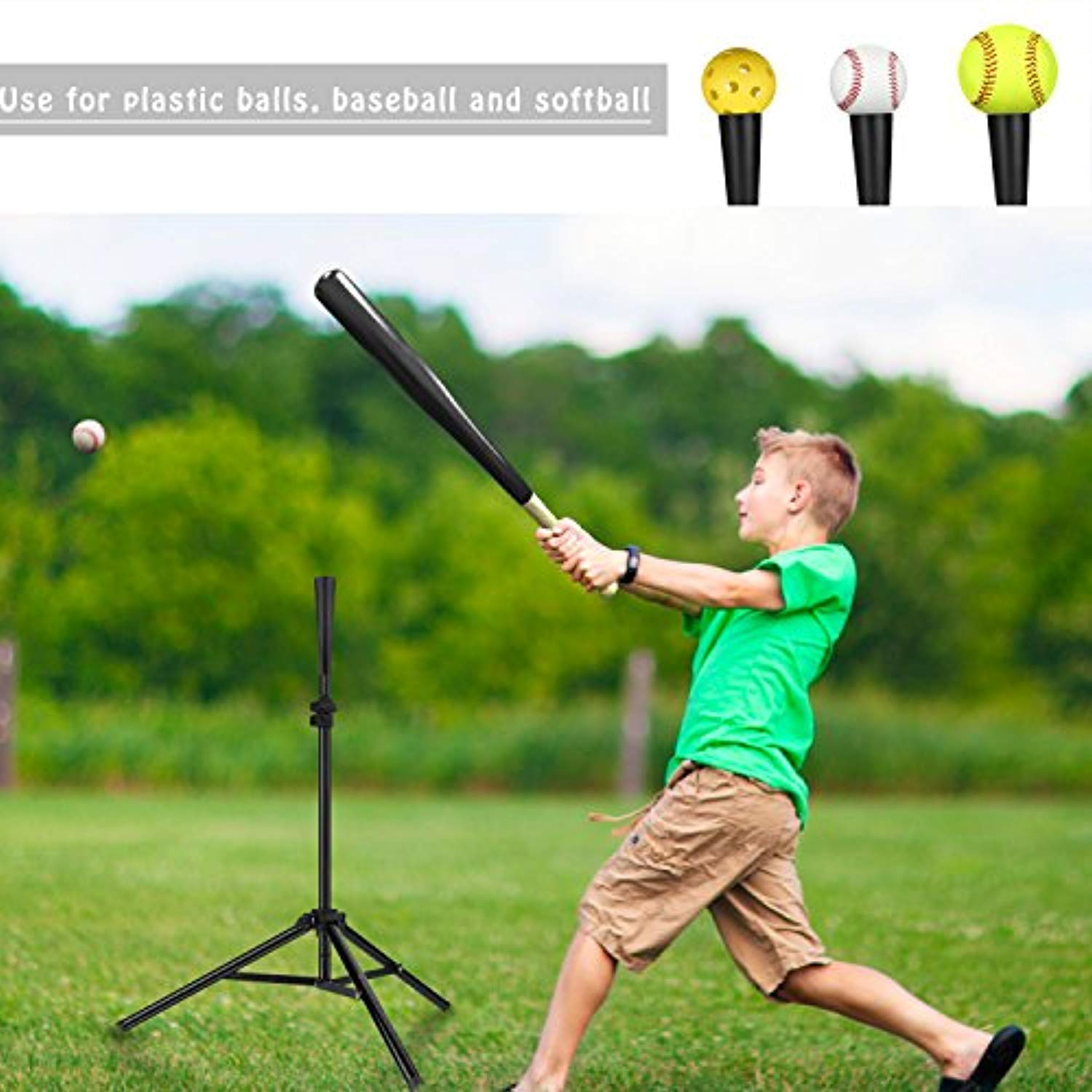 Portable tripod baseball batting Tee