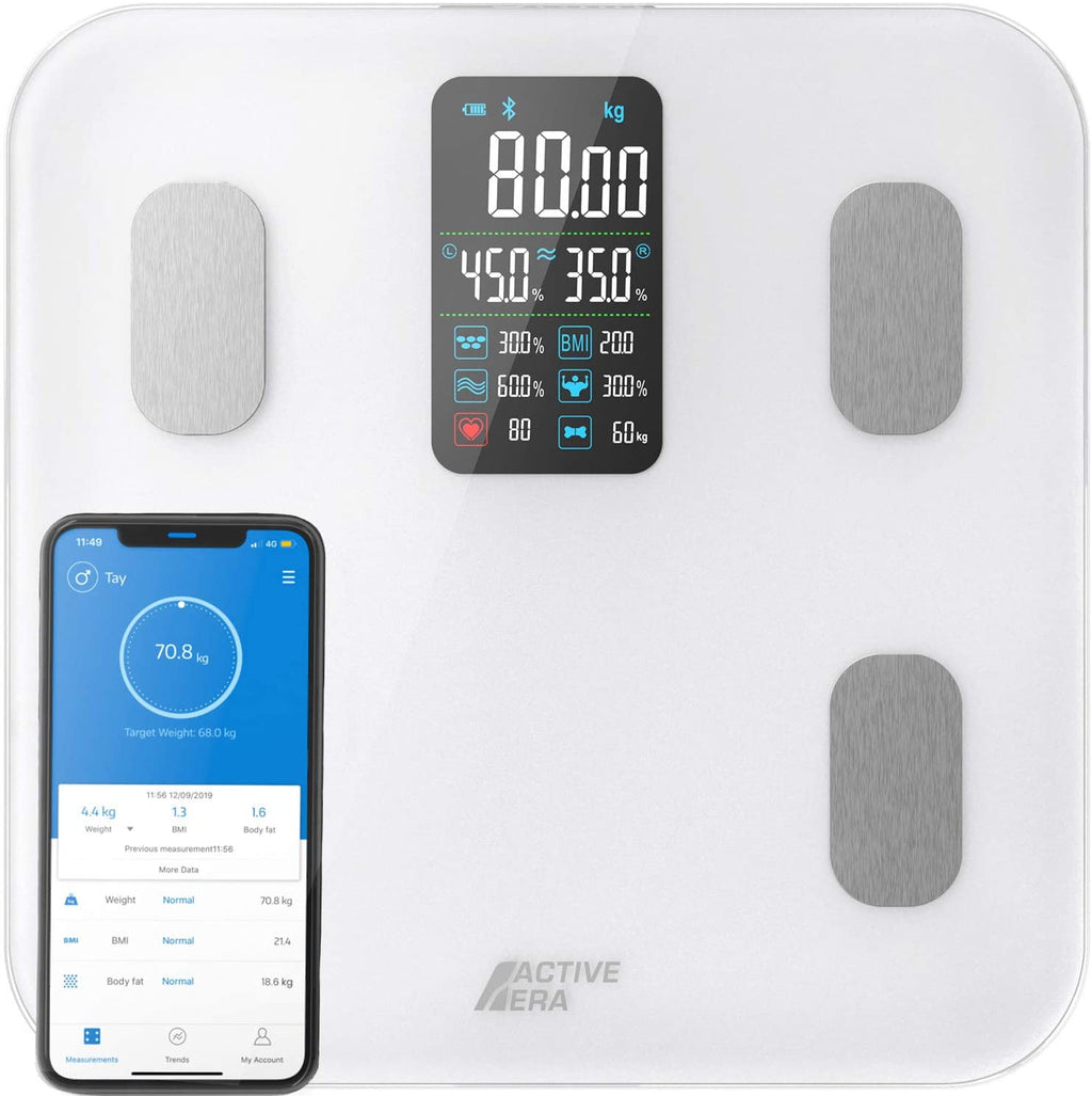 Active Era® Smart Bathroom Scales with Large LED Display - Bluetooth Digital Body Weight Scales with 16 Measurements