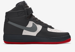 Air Force 1 High - Men's Black, Red heel Iron Grey swoosh