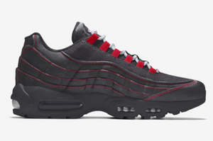 AIR MAX 95'S - Red side sticking, Black colour Backdrop : Mens Trainers
