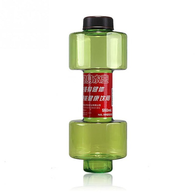 Creative Multifunctional Dumbbell Cup Fitness Water Bottle Plastic Cup Sealed Leak Proof 550ml Convenient Fitness Sport Bottle